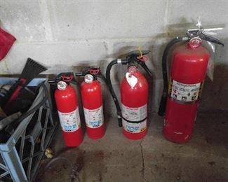 Four usable fire extinguishers