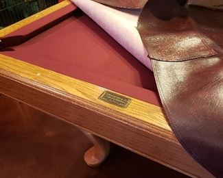 Red felt top Brunswick pool table
