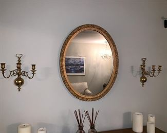 Gold oval vintage mirror $50