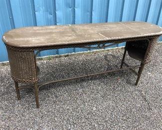 """Long Wicker Table """"Old"""""""