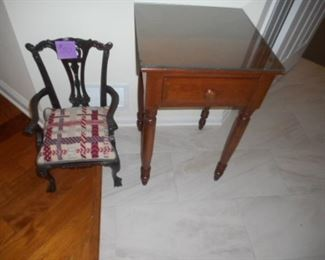 Side table with drawer and glass top