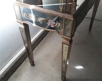 Mirrored vanity table with matching bench