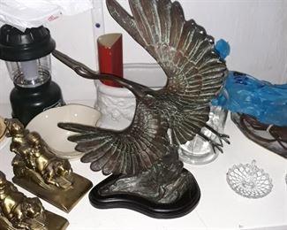 Bronze crane figurine