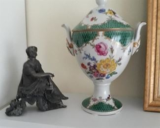 Pair of these porcelain urns, and two metal womsn figured