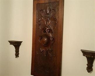Antique carved wood panel