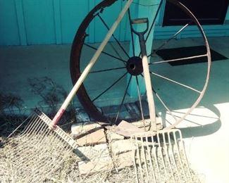 wagon wheels, antique tools