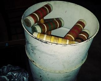 Vintage croquet mallets/balls