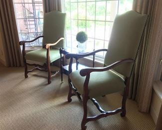 Pair green linen tall back arm chairs, Bombay Co serving table with casters, waterford crystal vase