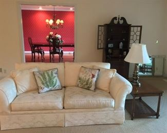 White damask custom couch, federal style secretary & more