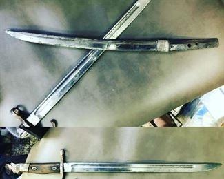 WW2 Japanese Bayonet, earlier Japanese sword; bid box