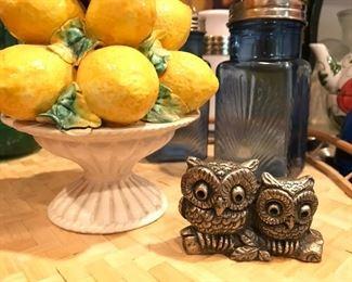 Mid Century owl  paperweight, Italian capodimente lemon centerpiece, antique/ vintge blue glass salt & Pepper shakers, bamboo serving  tray