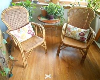 Bamboo with woven seating chairs