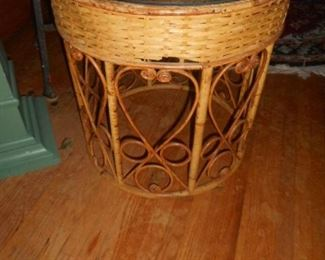 Bamboo , round side table with glass top