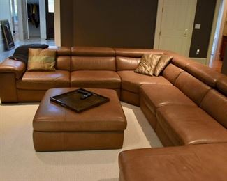 Leather sectional with matching storage ottoman