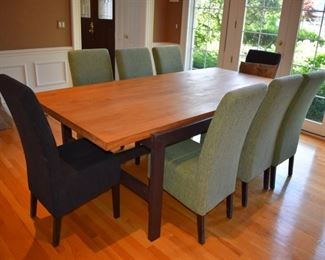 Contemporary wood and metal table and 8 parson's chairs