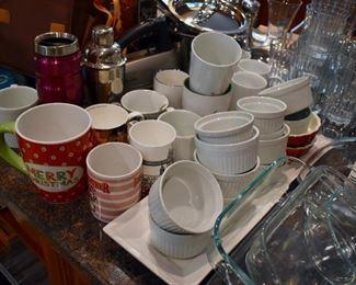 Ramekins, mugs and glasses
