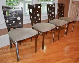 Set of 4 brushed steel dining chairs