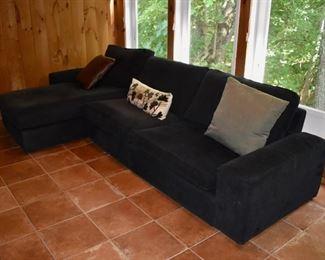Black corduroy sofa