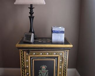 One of a pair of painted nightstands