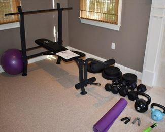 Marcy weight bench and weights