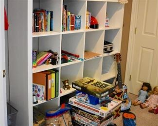 Cubby shelves and toys and games