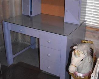 Purple desk with hutch