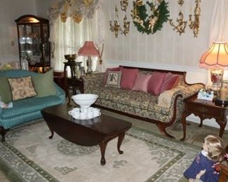 Antique Sofas, Love Seat, Coffee Table, Lamps, End Tables
