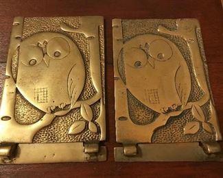 Vintage brass owl book-ends