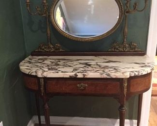 French Dressing table, candelabras and mirror attached at rear.  Excellent condition