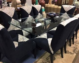 Art Deco inspired Glass Dining Table and Chairs
