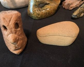Lonnie Holley carved sandstone pieces