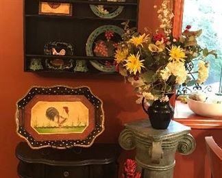 Pedestal Column, flower arrangements, various plates, trays, jars, candles, etc
