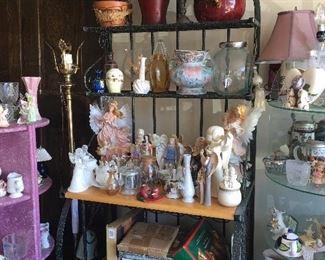 Bakers Rack, Angels, Vases, etc