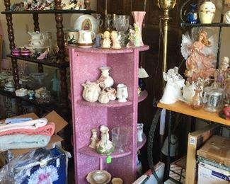 Shelving, Floor Lamp, Figurines, Glassware
