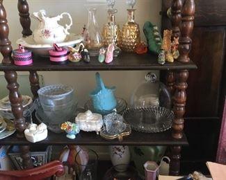 Large wood shelving unit, Crystal, Glassware, Shoe Decor