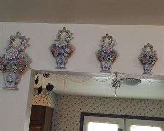 Ceramic/China floral wall hangings.   More than 1/2 off today