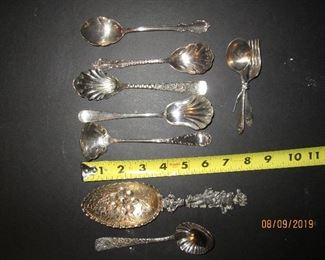 Assorted sterling and silver plate servers