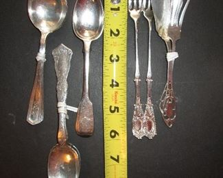 Coin and sterling silver spoons and silver plate serving forks
