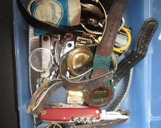 Assorted old watches and watch parts and Swiss Army knife