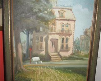 Oil on canvas circa 1972/73 of the Hamilton-Turner House by Gail Brannen, a local artist who worked at WJCL and Armstrong State College for many years but never sold or exhibited her work.  Done for me as a gift.