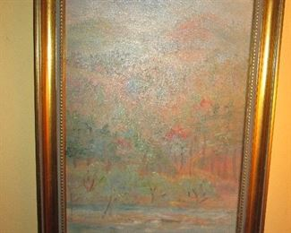 Signed oil by Ruth Pratt, listed Boston artist and signed.