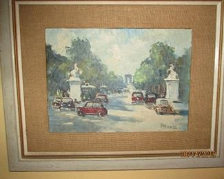 Signed and listed artist work of the Arch de Triomphe in the distance by P. Michel.