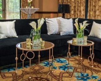 Black velvet lounge couch