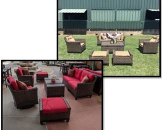 Multiple outdoor lounge sets
