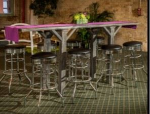 Plank tables and bar stools
