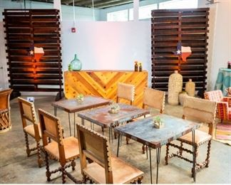 Tables, chairs, backdrops and bars