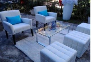 White leather chairs and glass tables