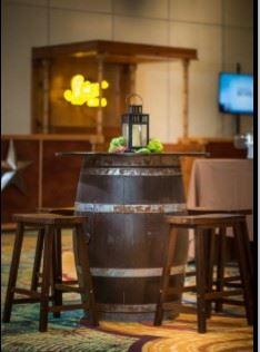 Wine Barrel Cocktail and Saddle Barstool