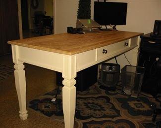 large white/wood top desk