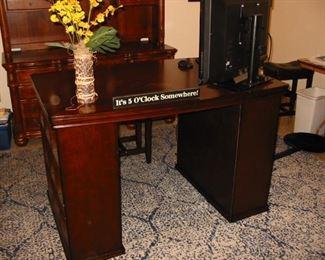 open front wooden desk